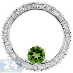 Womens Peridot Diamond Open Circle Pendant 14K White Gold