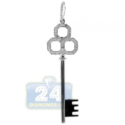 14K White Gold 0.20 ct Diamond Key Pendant 2 Inches