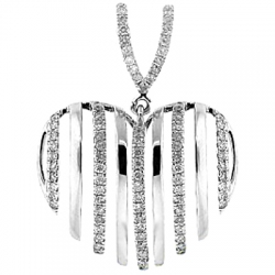 14K White Gold 0.61 ct Diamond Striped Heart Womens Pendant