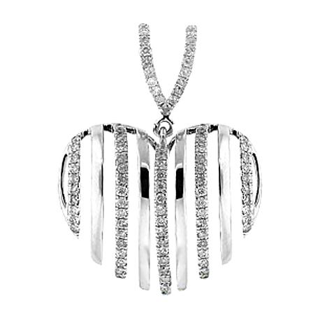 Womens Diamond Striped Heart Pendant 14K White Gold 0.61ct