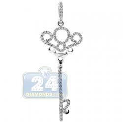 14K White Gold 0.28 ct Diamond Key Pendant 1 3/4 Inches
