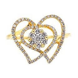 14K Yellow Gold 0.63 ct Diamond Cluster Womens Openwork Heart Ring