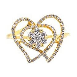 14K Yellow Gold 0.63 ct Diamond Cluster Womens Openwork Heart Ring