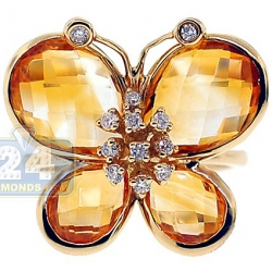 14K Yellow Gold 4.39 ct Yellow Citrine Diamond Butterfly Cocktail Ring