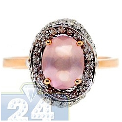 14K Rose Gold 2.60 ct Pink Quartz Diamond Halo Cocktail Ring