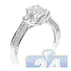 14K White Gold 0.62 ct Diamond Cluster Womens Vintage Engagement Ring