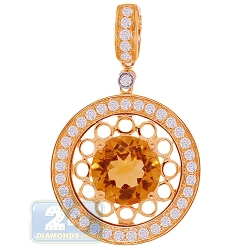 14K Yellow Gold 3.35 ct Citrine Diamond Womens Round Pendant