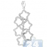 Womens Diamond Joint 6 Open Stars Pendant 14K White Gold 0.50ct