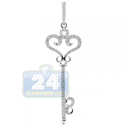14K White Gold 0.28 ct Diamond Vintage Style Key Pendant