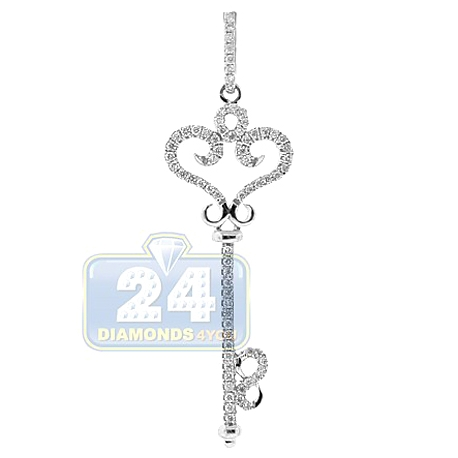 Womens Diamond Vintage Style Key Pendant 14K White Gold .28ct