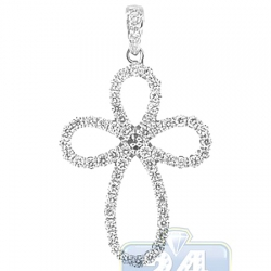 Womens Diamond Open Cross Pendant 14K White Gold 0.36ct 1""