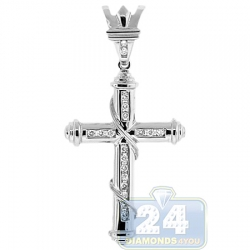 14K White Gold 0.30 ct Diamond Religious Cross Pendant