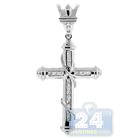 Mens Diamond Religious Cross Pendant 14K White Gold 0.30ct