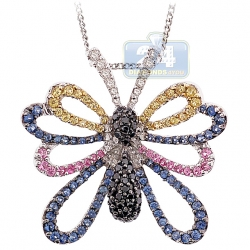 Womens Diamond Gemstone Butterfly Pendant 14K White Gold 1.39ct