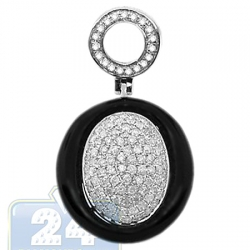 14K White Gold 0.70 ct Diamond Onyx Womens Drop Pendant