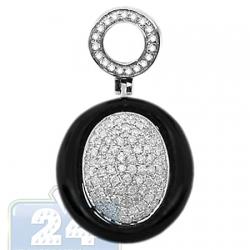 14K White Gold 0.70 ct Diamond Onyx Womens Drop Pendant