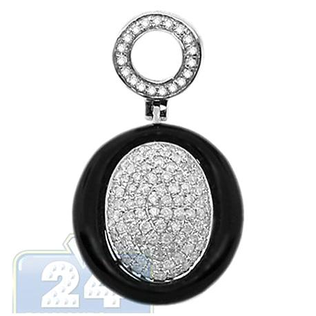 Womens Diamond Onyx Oval Drop Pendant 14K White Gold 0.70ct