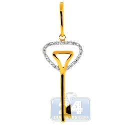 14K Yellow Gold 0.21 ct Diamond Layered Key Womens Pendant