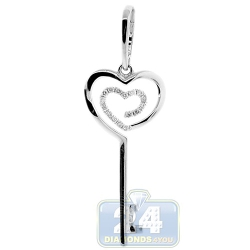 14K White Gold 0.16 ct Diamond Heart Key Womens Pendant