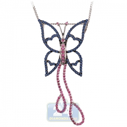 Womens Blue Pink Sapphire Butterfly Pendant 14K White Gold