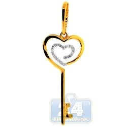14K Yellow Gold 0.16 ct Diamond Heart Key Womens Pendant