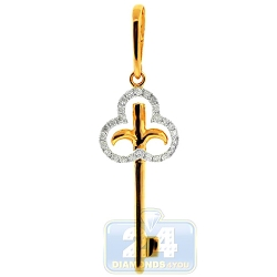 14K Yellow Gold 0.25 ct Diamond French Key Womens Pendant