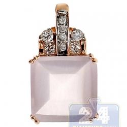 Womens Pink Quartz Diamond Drop Pendant 14K Rose Gold 6.35ct