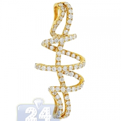 Womens Diamond Treble Clef Drop Pendant 14K Yellow Gold 1.00ct