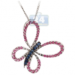 Womens Pink Sapphire Tanzanite Butterfly Pendant 14K White Gold