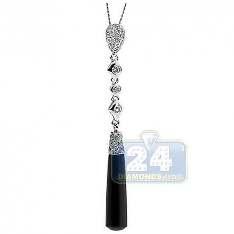 Womens Diamond Dangle Pendant 14K White Gold Black Ceramic .57ct