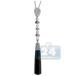 14K White Gold Ceramic 0.57 ct Diamond Womens Dangle Pendant