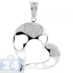 14K White Gold 0.33 ct Diamond Open Heart Womens Pendant