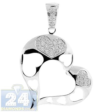 Womens Diamond Pave Open Heart Pendant 14K White Gold 0.33ct