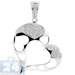 14K White Gold 0.33 ct Diamond Open Heart Womens Pendant