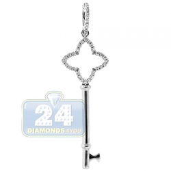 14K White Gold 0.15 ct Diamond Сlover Key Womens Pendant