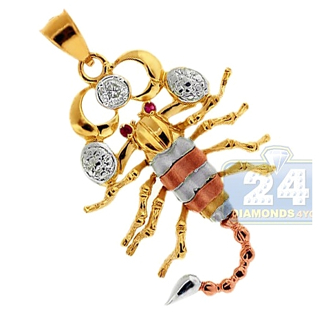 Solid 10k Three Tone Gold Scorpion Zodiac Sign Mens Pendant