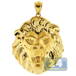 Solid 10K Yellow Gold Lion Head Mens Pendant