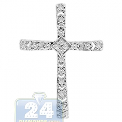 14K White Gold 0.16 ct Diamond Latin Cross Womens Pendant