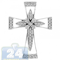 14K White Gold 0.22 ct Diamond Halo Cross Womens Pendant