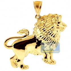 10K Yellow Gold Lion Body Mens Pendant