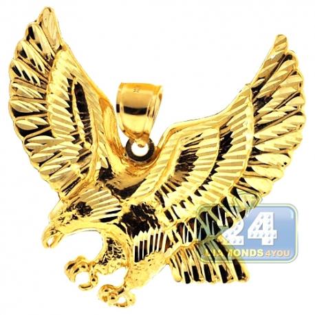 Solid 10K Yellow Gold Diamond Cut American Eagle Mens Pendant