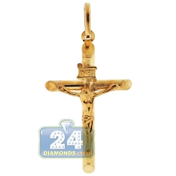 Hollow 10K Yellow Gold Jesus Christ Crucifix Cross Pendant