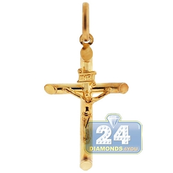 10K Yellow Gold Jesus Christ Crucifix Cross Small Pendant