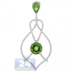 Womens Peridot Diamond Chandelier Drop Pendant 14K White Gold