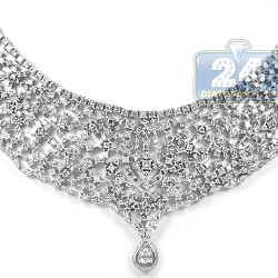 Womens Mixed Diamond Mesh Necklace 18K White Gold 44.77ct 18""
