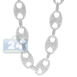 14K White Gold 20.00 ct Diamond Anchor Link Mens Chain