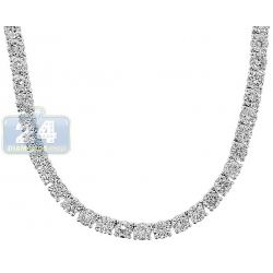 18K White Gold 19.70 ct Diamond Womens Tennis Necklace