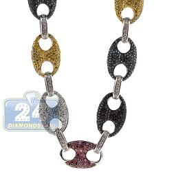 14K White Gold 20.00 ct Color Diamond Mariner Link Mens Chain