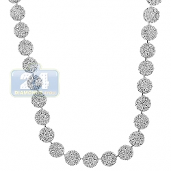 14K White Gold 13.38 ct Diamond Cluster Womens Tennis Necklace