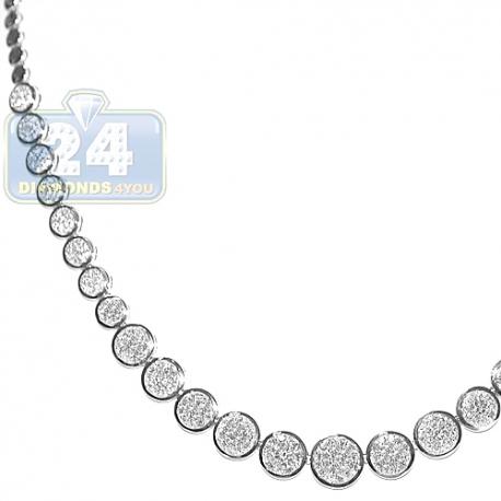 Womens Diamond Graduated Circle Tennis Necklace 14K White Gold